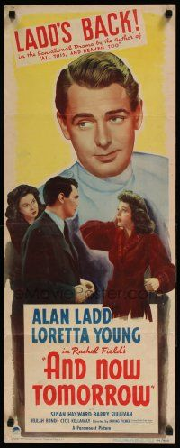 2y010 AND NOW TOMORROW insert '44 great headshot of Dr. Alan Ladd, plus pretty Loretta Young!