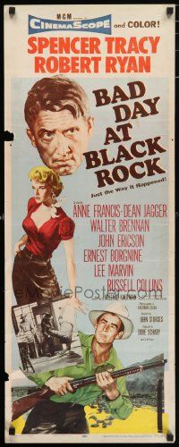 2y019 BAD DAY AT BLACK ROCK insert '55 Spencer Tracy, Anne Francis, John Sturges classic!