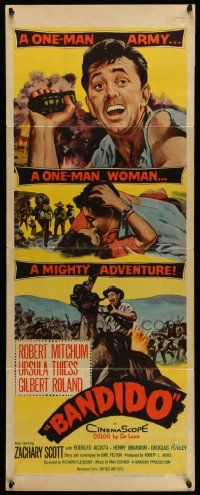 2y020 BANDIDO insert '56 artwork of one-man army Robert Mitchum & sexy Ursula Thiess!