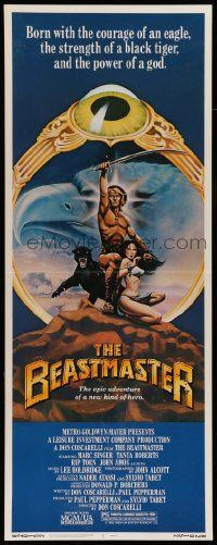 2y024 BEASTMASTER insert '82 cool fantasy art of barechested Marc Singer & sexy Tanya Roberts!