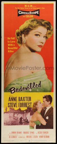 2y025 BEDEVILLED insert '55 Forrest fell in love with beautiful blue-eyed killer Anne Baxter!