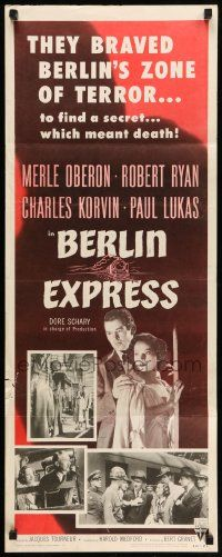 2y029 BERLIN EXPRESS insert R55 Merle Oberon & Robert Ryan, directed by Jacques Tourneur!