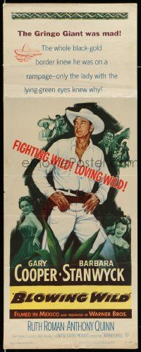 2y037 BLOWING WILD insert '53 Gary Cooper, Barbara Stanwyck, Ruth Roman, Anthony Quinn!