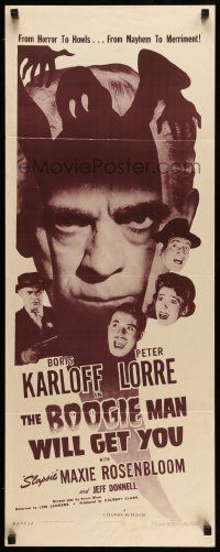 2y041 BOOGIE MAN WILL GET YOU insert R48 cool close up of Boris Karloff and art of ghost!