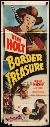 2y043 BORDER TREASURE insert '50 cool artwork of Tim Holt holding a rifle!