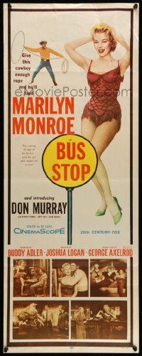 2y050 BUS STOP insert '56 full-length sexy Marilyn Monroe + photos with cowboy Don Murray!
