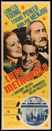 2y052 CAFE METROPOLE insert '37 Loretta Young, Tyrone Power & Adolphe Menjou arm-in-arm!