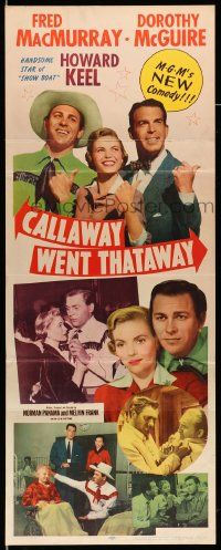 2y056 CALLAWAY WENT THATAWAY insert '51 Fred MacMurray, Dorothy McGuire & Howard Keel w/thumbs out