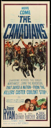 2y059 CANADIANS insert '61 cool image of Robert Ryan & Royal Mounted Police charging!