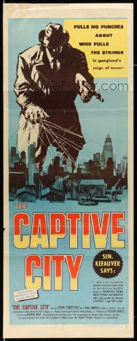 2y065 CAPTIVE CITY insert '52 cool art of gangster controlling city, film noir!