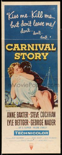 2y069 CARNIVAL STORY insert '54 sexy Anne Baxter held by Steve Cochran who she loves real bad!