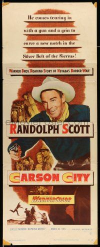 2y070 CARSON CITY insert '52 cowboy Randolph Scott in Nevada with a gun and a grin!