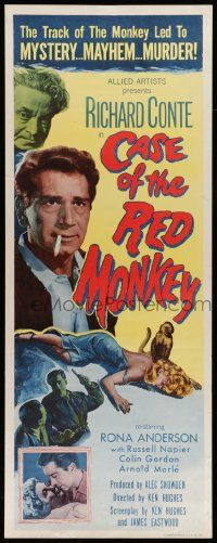2y073 CASE OF THE RED MONKEY insert '55 Richard Conte solves impossible crime, sexy Rona Anderson!