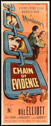 2y079 CHAIN OF EVIDENCE insert '56 Bill Elliott, every lying clue marked him a murderer!