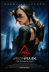 2z012 AEON FLUX advance DS 1sh '05 sexy futuristic Charlize Theron in black outfit!