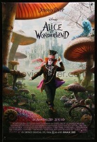 2z020 ALICE IN WONDERLAND advance DS 1sh '10 Johnny Depp as the Mad Hatter surrounded by mushrooms