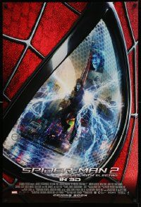 2z034 AMAZING SPIDER-MAN 2 int'l advance DS 1sh '14 Fights with Electro, great close up image!