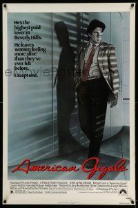 2z040 AMERICAN GIGOLO 1sh '80 handsomest male prostitute Richard Gere is being framed for murder!