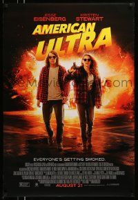 2z045 AMERICAN ULTRA advance DS 1sh '15 image of Jesse Eisenberg and Kristen Stewart with gun!