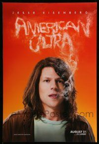 2z048 AMERICAN ULTRA teaser DS 1sh '15 great image of smoking Jesse Eisenberg!