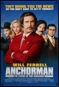 2z052 ANCHORMAN DS 1sh '04 The Legend of Ron Burgundy, image of newscaster Will Ferrell and cast!