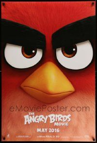 2z053 ANGRY BIRDS MOVIE teaser DS 1sh '16 wacky intense close-up of Red, voiced by Jason Sudeikis!