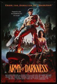 2z056 ARMY OF DARKNESS 1sh '93 Sam Raimi, artwork of Bruce Campbell with chainsaw hand!
