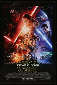 2z001 FORCE AWAKENS int'l French language advance DS 1sh 2015 Star Wars: Episode VII, cast montage!