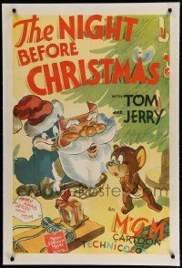 3d012 NIGHT BEFORE CHRISTMAS linen 1sh '41 cartoon art of Tom w/Santa mask & Jerry under tree, rare