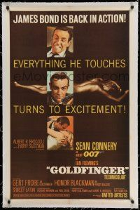 3f222 GOLDFINGER linen 1sh '64 3 great images of Sean Connery as James Bond + golden Shirley Eaton!