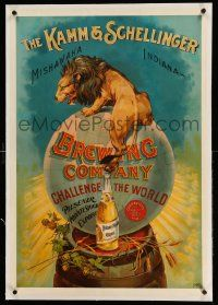 3f031 KAMM & SCHELLINGER BREWING COMPANY linen 24x34 advertising poster 1900s art of lion & beer!