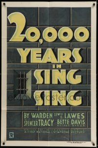 3g143 20,000 YEARS IN SING SING 1sh '32 great title treatment against New York prison walls, rare!