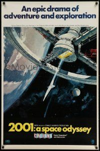 3g408 2001: A SPACE ODYSSEY Cinerama 1sh '68 Kubrick, art of space wheel in space, rare & unfolded!