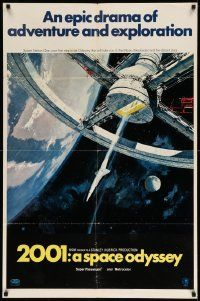 3g144 2001: A SPACE ODYSSEY style A 70mm 1sh '68 Stanley Kubrick, art of space wheel by Bob McCall!