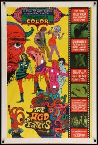 3g145 ACID EATERS 1sh '67 nude beach parties, LSD orgies & more, sexy psychedelic art, ultra rare!