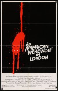 3g146 AMERICAN WEREWOLF IN LONDON int'l 1sh '81 best art of bloody wolf over black background, rare!