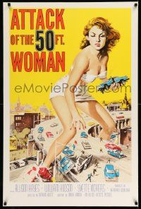3g362 ATTACK OF THE 50 FT WOMAN S2 recreation 1sh 2002 art of enormous Allison Hayes over highway!