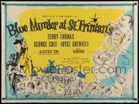 3g182 BLUE MURDER AT ST TRINIAN'S British quad '57 great Ronald Searle art of Terry-Thomas & cast!