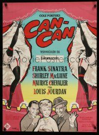 3g216 CAN-CAN Danish '60 Stilling art of Frank Sinatra, Shirley MacLaine & Maurice Chevalier!