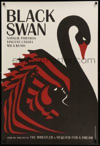 3g193 BLACK SWAN heavy stock teaser English 1sh '10 cool merged swan and dancer deco La Boca art!