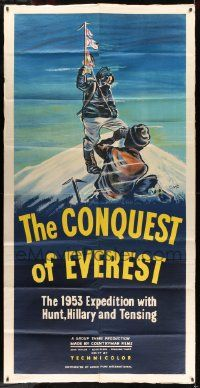 3g022 CONQUEST OF EVEREST English 3sh '53 EMC art of Norgay filming Hillary planting English flag!