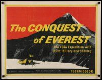 3g199 CONQUEST OF EVEREST English 1/2sh '53 Boswell art of the base camp below the famous summit!