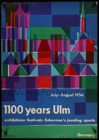 3g209 1100 YEARS ULM German '54 colorful art with geometric shapes!