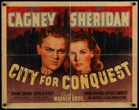 3g386 CITY FOR CONQUEST 1/2sh '40 boxer James Cagney & Ann Sheridan by New York skyline, rare!