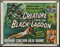 3g387 CREATURE FROM THE BLACK LAGOON style A 1/2sh '54 art of monster over sexy Julie Adams in water