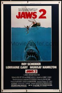3g431 JAWS 2 1sh '78 different art of giant killer shark attacking man & woman in sailboat, rare!