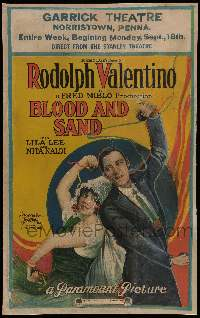 3g039 BLOOD & SAND WC '22 stone litho of matador Rudolph Valentino dancing with pretty Lila Lee!