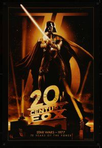 3h304 20TH CENTURY FOX 75TH ANNIVERSARY 27x40 commercial poster '10 Darth Vader, Star Wars!
