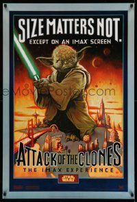 3h178 ATTACK OF THE CLONES style A IMAX DS 1sh '02 Star Wars Episode II, art of Yoda!