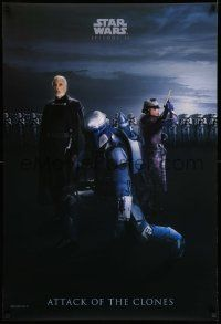3h285 ATTACK OF THE CLONES 27x40 commercial poster '02 Star Wars Episode II, Tyranus, Jango Fett!